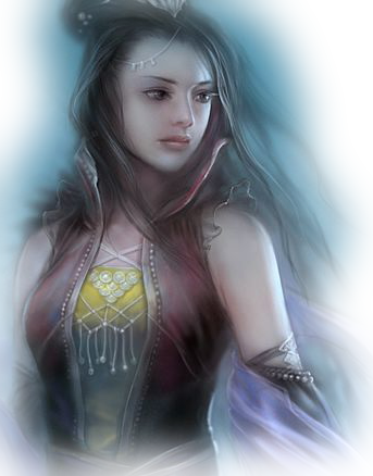 femme guerrière myst bleue